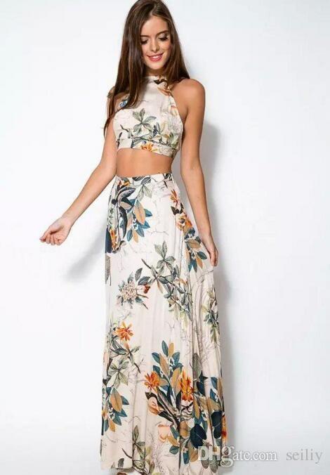 Compre Vestidos De Playa Mujeres Crop Top Conjunto De Falda Midi Vacaciones De Verano Playa Faldas Atractivas Vestidos De Dos Piezas Vestidos Para