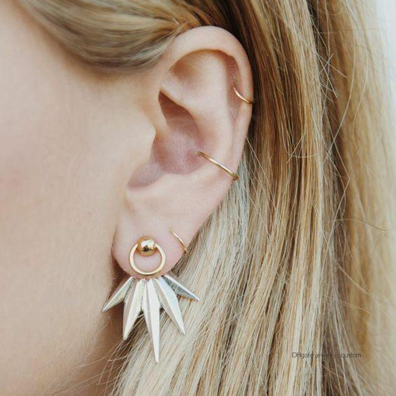 5 Pcs/set Women Fashion Leaves Feather Geometric Earrings Simple Round Gold Ear Buckle Lady Party Wedding Jewelry Gift