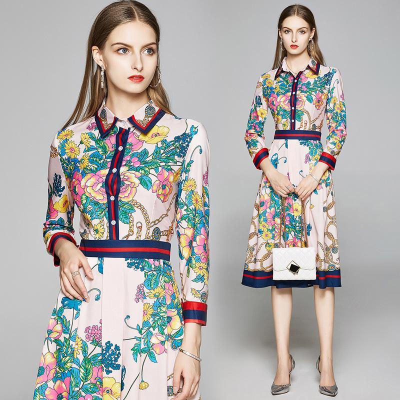 새로운 럭셔리 패션 플로랄 프린트 디자이너 여성 Pleated 셔츠 드레스 2020 활주로 우아한 숙녀 슬림 캐주얼 사무실 드레스 버튼 긴 소매