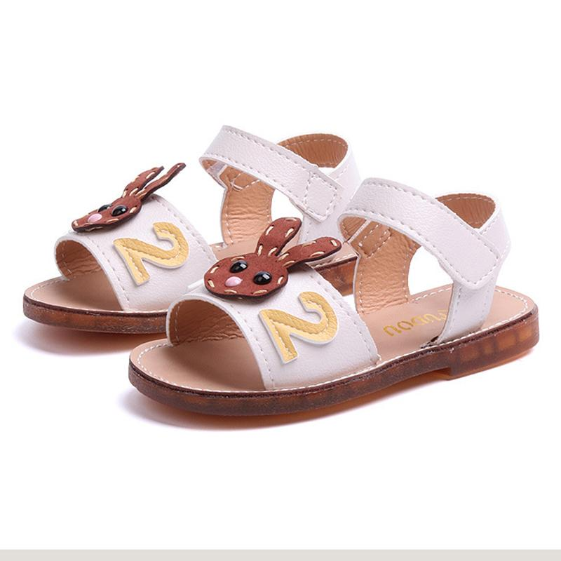 Children Summer Shoes For Girls Sandals Baby Girl Cute Rabbit Soft Bottom Sandals 1-8 Years Old Kids Beach Shoes