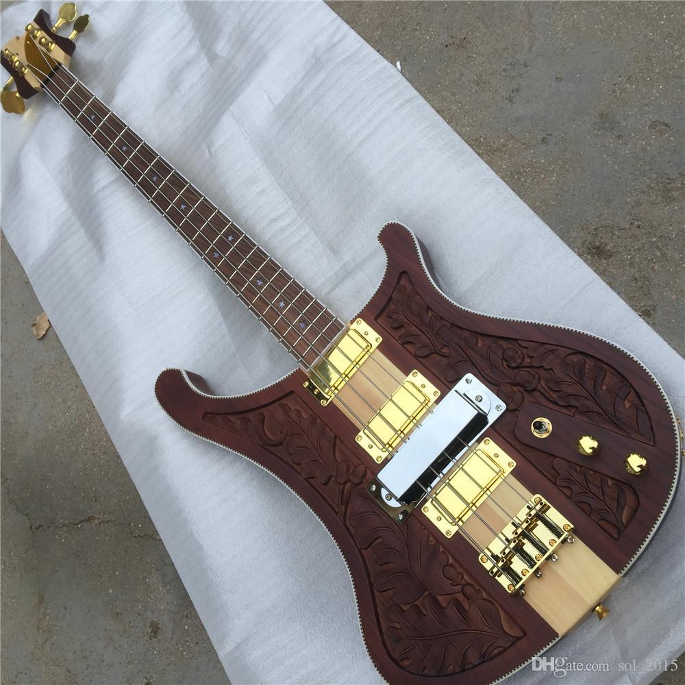 Free Shipping RIC 4003 Bastard LK Lemmy Kilmister Limited Edition Natural Walnut Hand-carved Electric Bass Guitar Neck Through Body guitars