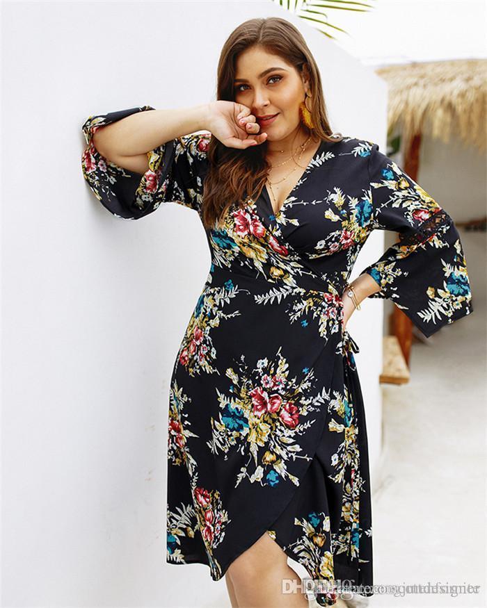 Plus Size Womens Summer Dresses Scollo a V stampa floreale manica lunga Split femminile Abbigliamento Moda Stile casual Abbigliamento