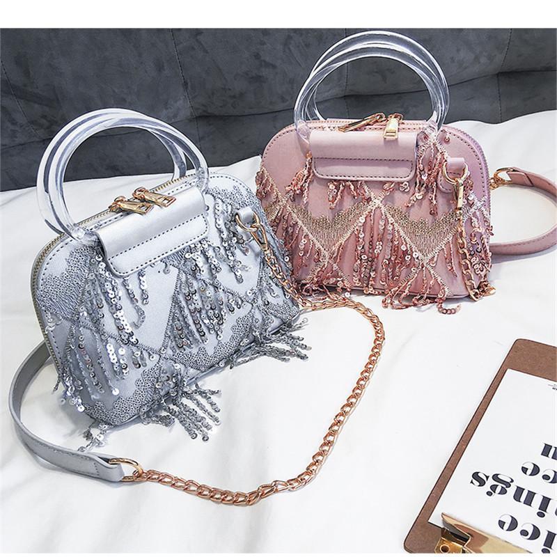 Damen Pailletten Umhängetasche Beutel für Frauen Kleine Schultertasche Messenger Bag Spezielle Quaste Design Weibliche Reise Partei Handtaschen