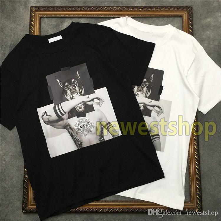 2020 novos homens de alta qualidade geometria imprimir camisas T t shirt dos homens do cão do desenhista Camisetas cabeça montagem de impressão camisetas T do algodão Unsex