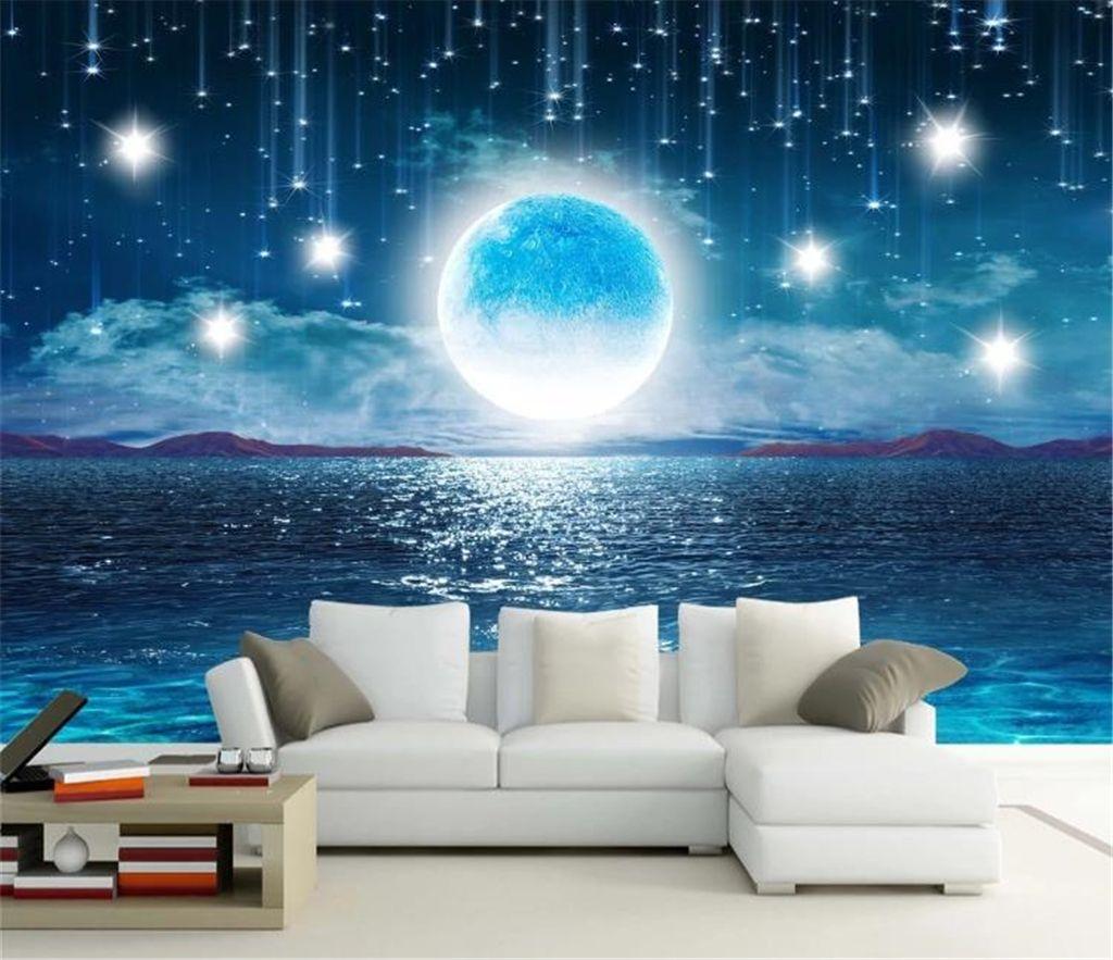 Home Decor 3d Wallpaper Water Rising Moonlight Beautiful Night