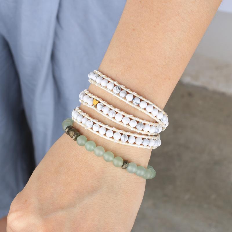 KELITCH Любовь Пары Модные браслеты манжета Handcrafted 3 Wrap Strand Природные бисером браслеты с кожаной веревкой цепи