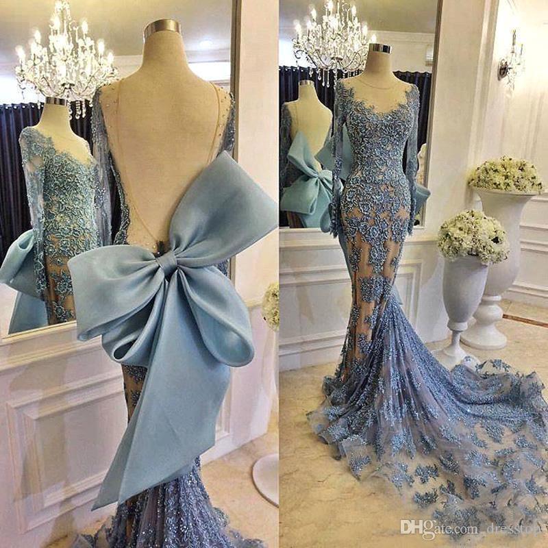 Элегантный Dusty Синий Русалка Вечерние платья Backless шнурка Big Bow Sexy Пром платья в стиле ретро с длинными рукавами Формальное платье партии