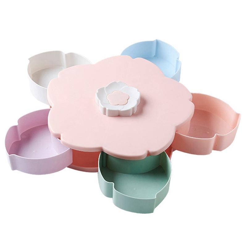 Petal-Shape Rotating Snack Box Candy Tray Food Storage Box Wedding Candy Plates Double-Deck Dried Fruit Organizer Storage