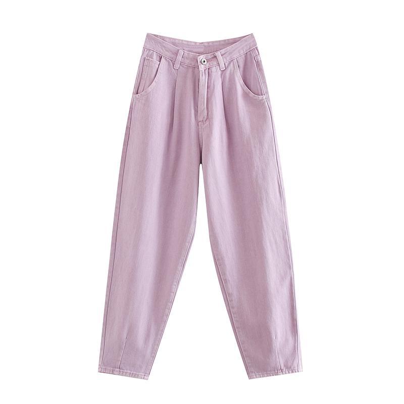 Mulheres Sólidos calças soltas Jeans vaqueiro Baggy plissadas Harem de comprimento feminino cintura alta completa Casual Calças Lady Zipper Bottoms