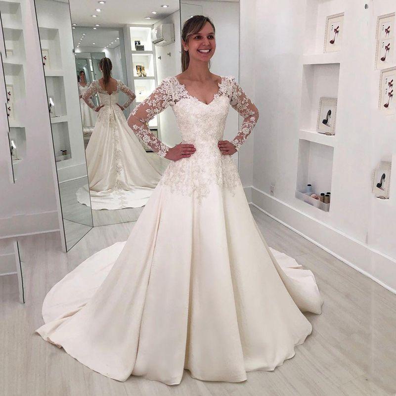 Пользовательские Длинные рукава Кружева Свадебные платья 2020 с аппликациями V Neck развертки Поезд атласная Line Свадебные Платья