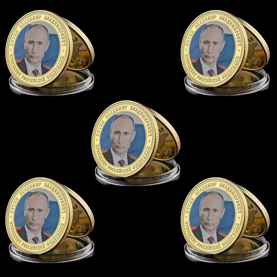 5PCS Russia President Vladimir Putin Crimean Map 1oz Gold Plated Commemorative Coin Token AP16 Set