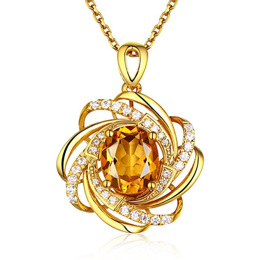 Wholesale 10 pcs Gold Plated Yellow Citrine Crystal Pendant Link Chain Necklace Imitation Pearl Fashion Jewelry