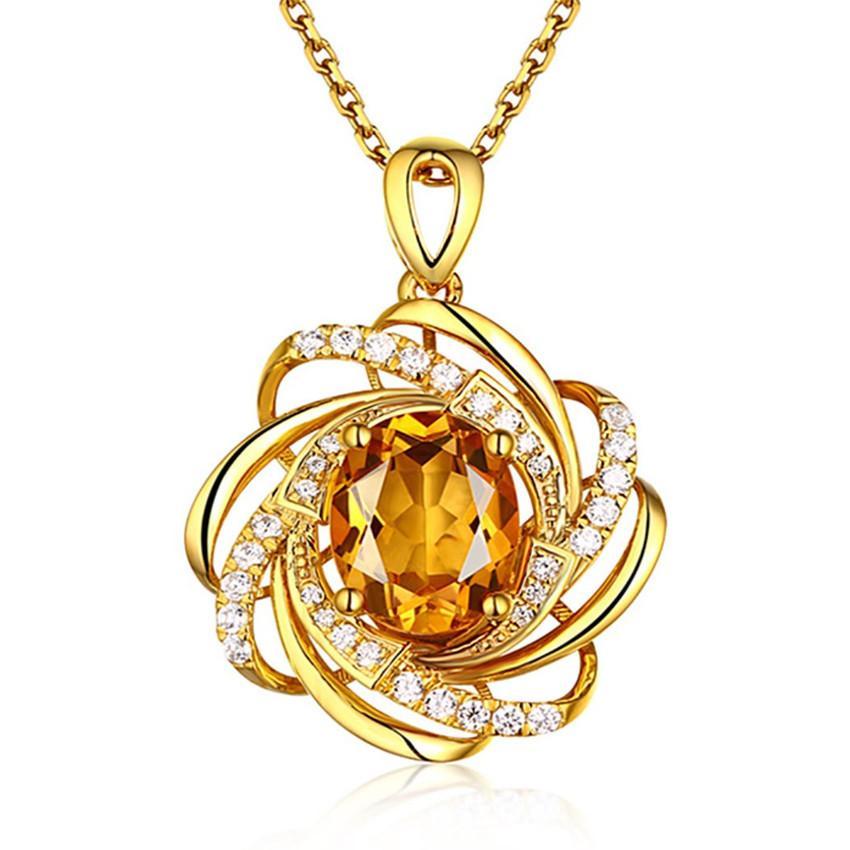 Toptan 10 adet altın kaplama Sarı sitrin Kristal kolye Link Zinciri Kolye İmitasyon İnci Moda Takı