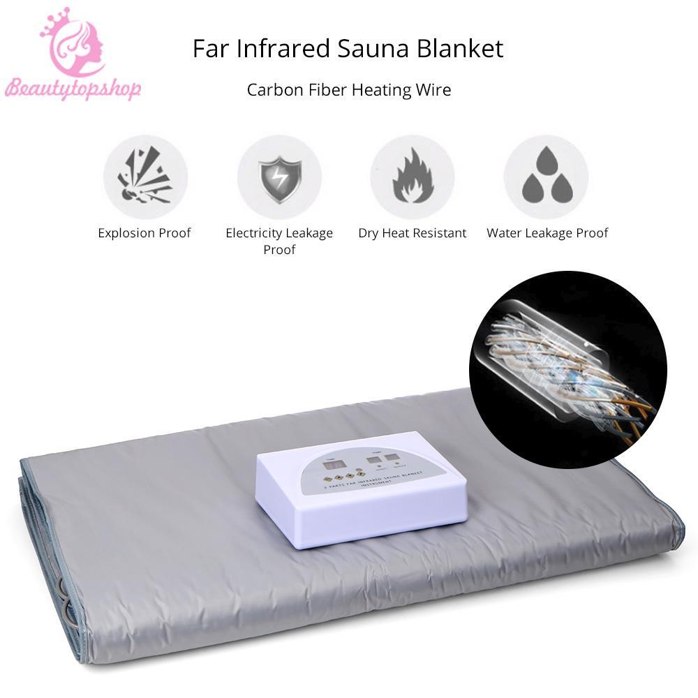 2 Bölgeler Uzak Kızılötesi FIR Sauna Zayıflama Battaniye kilo Spa Detoks Profesyonel Cilt Bakımı Makinası
