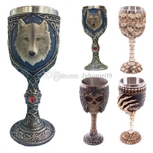 Drink 150ml Café Chá Wine Cups criativa Horror Halloween Party 3D Crânio Cálice de resina de aço inoxidável vinho Cup para decoração de casa Bar Canecas