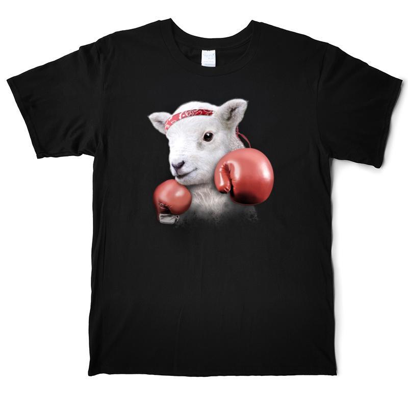 BOXING LAMB Men's Cotton Animal T Shirt Cartoon Desion Tees Shirts Male Short Sleeve Casual T Shirt Man S-3XL Funny Print T-Shirts