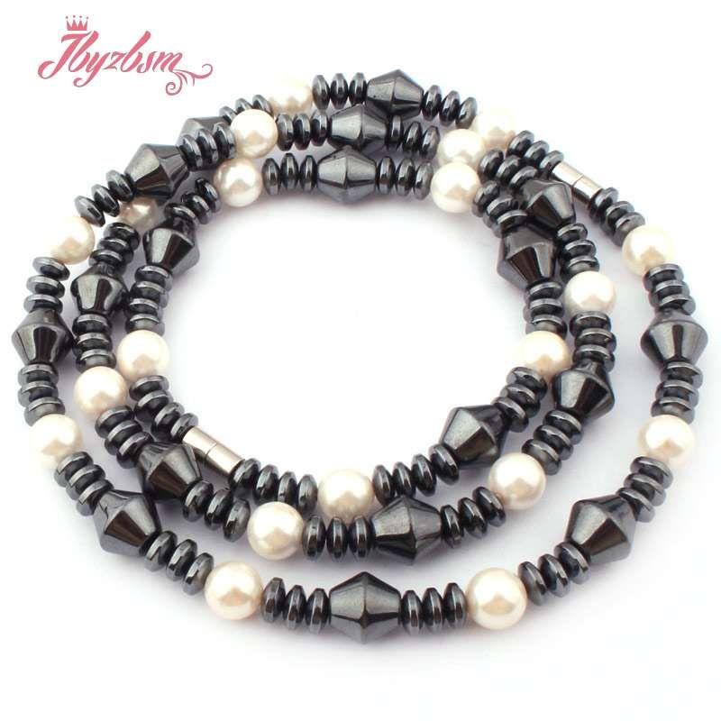 """블랙 (No Magnetic) Hematite Natural Stone Beads 여성 패션 보석 목걸이 21 """"Bracelet 7""""1 세트 무료 배송"""
