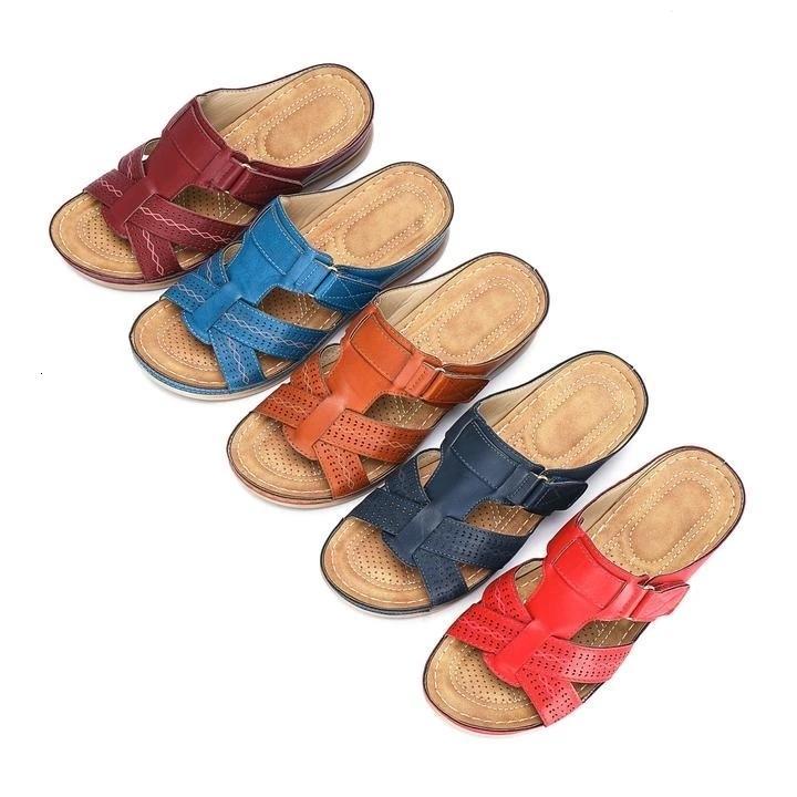 Дропшиппинг женские удобные сандалии с открытым носком супер мягкие премиальные ортопедические туфли на низком каблуке прогулочные сандалии Toe Corrector Cusion LY191203