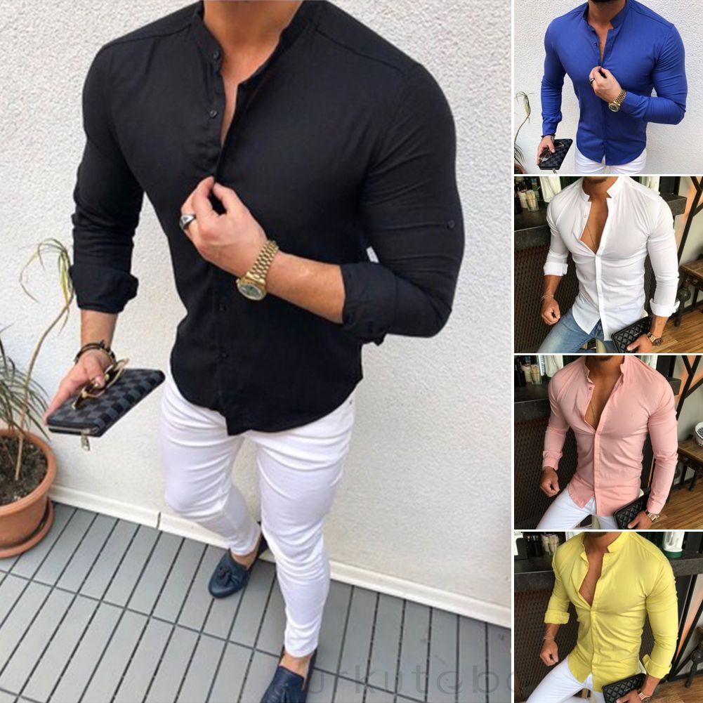 2019 Camicie firmate del marchio di moda Uomo Coreano Manica lunga Scollo a V Vestibilità slim Street Wear Autunno Inverno Estate Abbigliamento casual da uomo