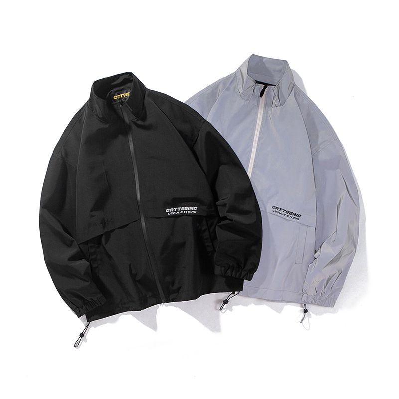 Hombres Streetwear Hip Hop Primavera Otoño chaqueta reflectante Hombres Parejas Mujeres Moda Deportes Escudo de abrigo