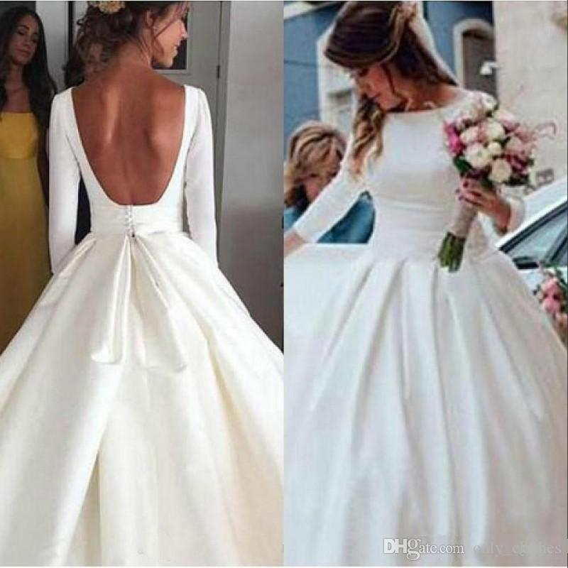 Discount New Cheap Simple Plus Size Wedding Dresses 2020 Boat