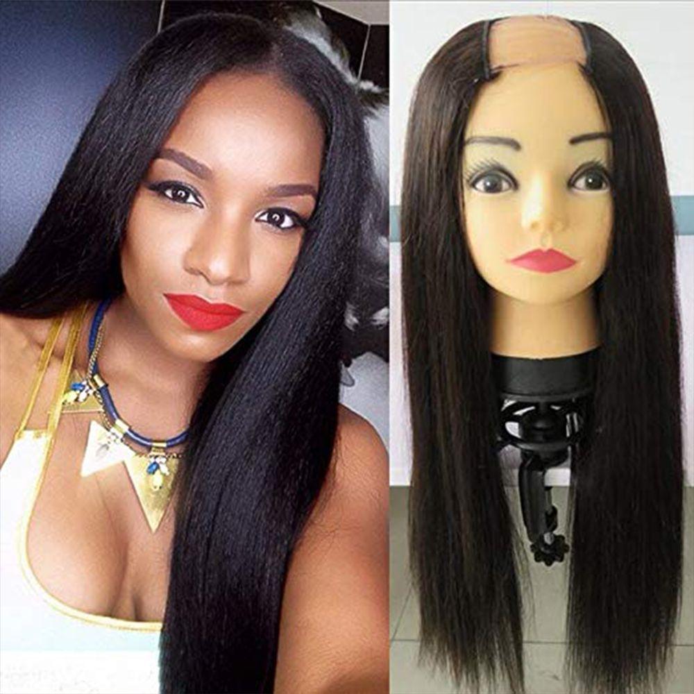 % 100 İşlenmemiş Brezilyalı Remy saç Düz U Bölüm Peruk İçin Siyah Kadın% 100 İnsan Saç Orta Açılış% 180 Yoğunluk