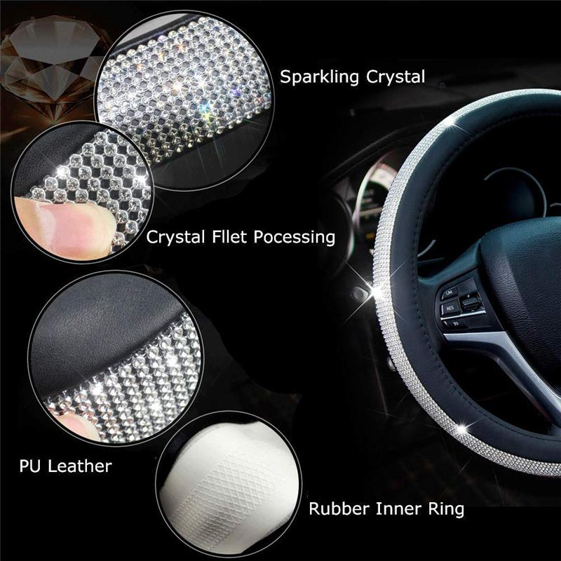 HOUSE DAY Diamond Leather Auto Steering Wheel Cover with Bling Crystal Rhinestones Car Wheel Protector Universal 15 Inch Anti-Slip Leather PU