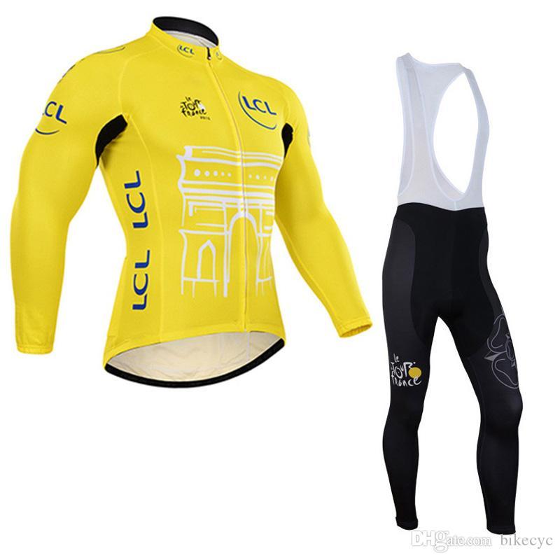 Tour de France Bisiklet Jersey Set Erkek Uzun Kollu Yarış Gömlek Önlüğü Pantolon Takım Takım Bisiklet Ropa Ciclismo Sonbahar MTB Bisiklet Giyim Y2103160