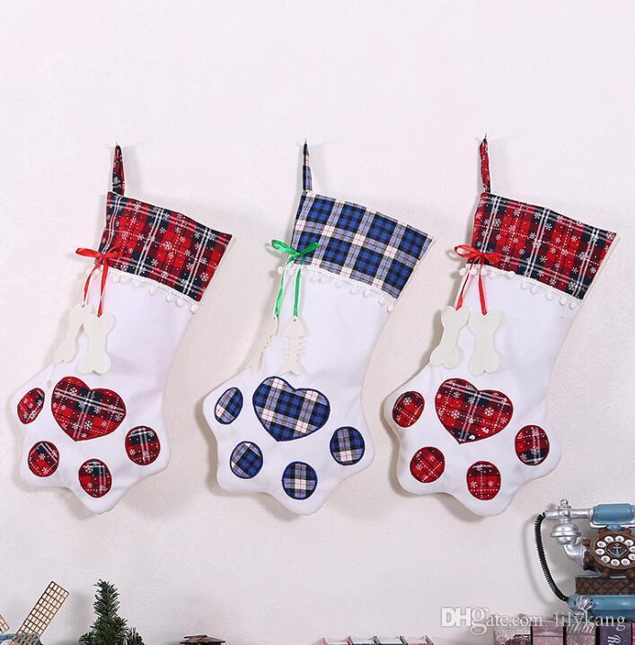 Festivo Calcetines de Navidad Bolsa de regalo exquisito Nueva pata de perro Edición media Calcetines que cuelgan bolsas de regalo de Navidad decorativo caramelo calcetín Bolsa