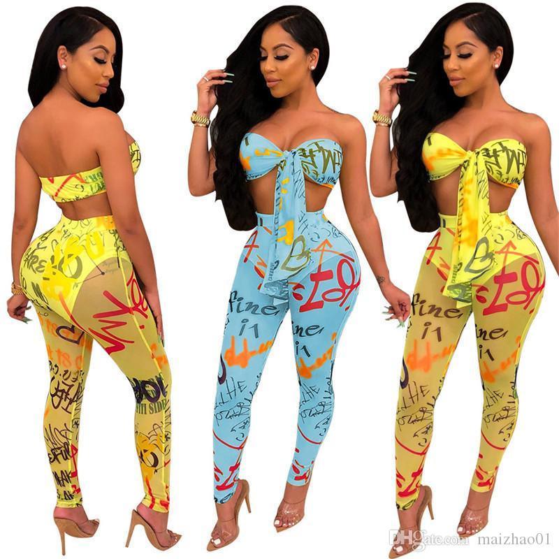 Письмо печати Женщины Tracksuit рукавов Бюстгальтер жилет + Прозрачный брюки поножи 2 шт костюм Мода Грудь Wrap Эпикировка Дизайн-одежда