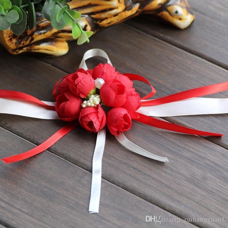 Brazalete de paja Flor nueva dama de honor de la novia de la muñeca del ramillete de Woodland Ramillete tejida para la boda Prom Accesorios