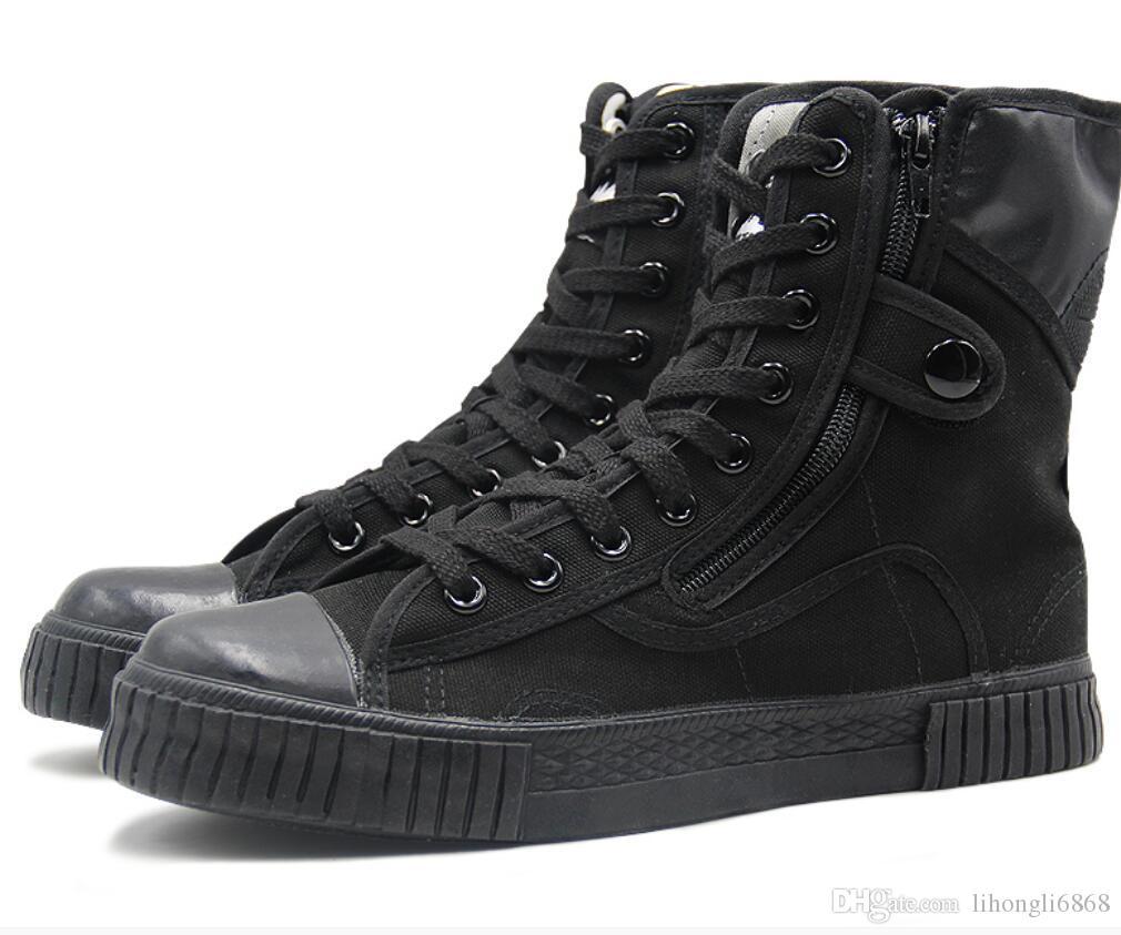 Recursos genuínos sapatos militares homens e mulheres liberação sapatos preto alto treinamento sapatos respirável lona alta ajuda bandagens preço baixo livre
