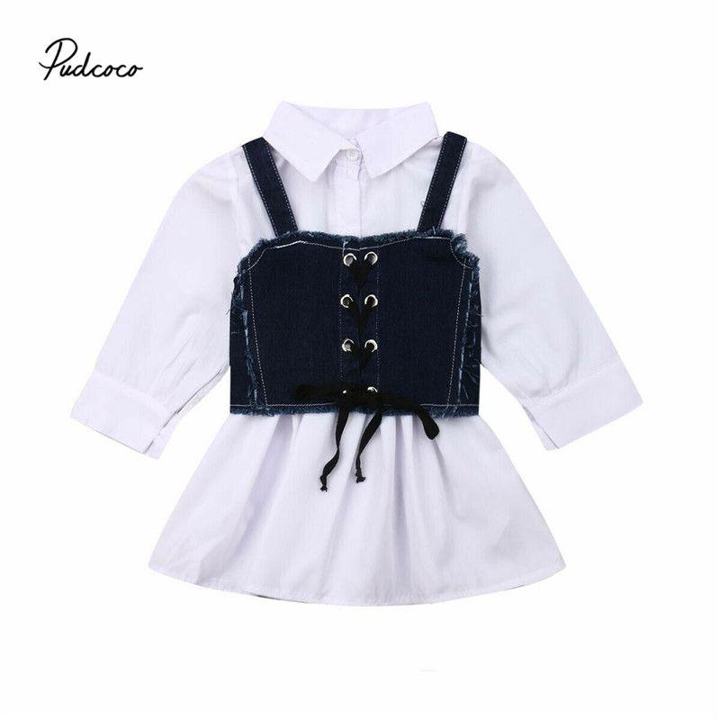 2019 resorte del bebé ropa del otoño 1-6Y Moda niño del bebé camisa de los niños vestido de dril de algodón + Faja Chaleco Una línea sistema del vestido largo de la manga