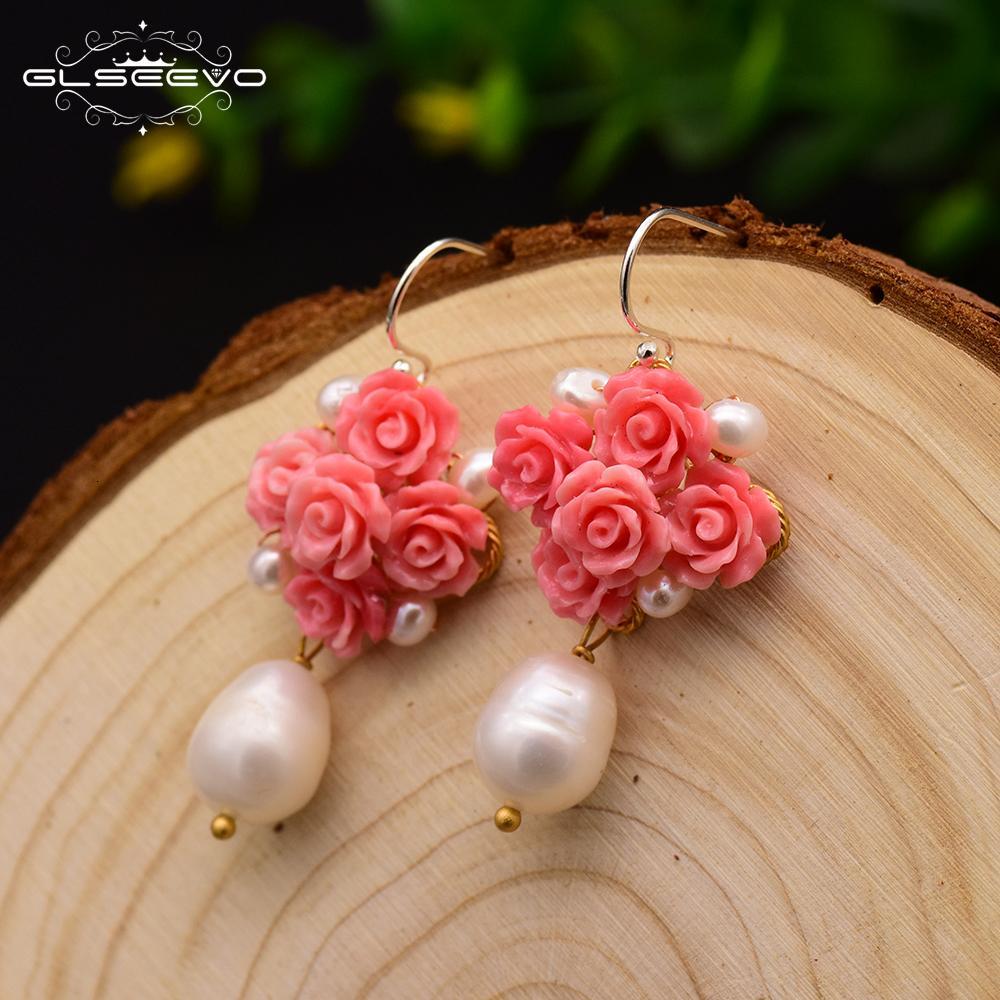 ORECCHINI perla naturale ciondola gli orecchini Belle monili di lusso di GLSEEVO mano corallo naturale Donne Fiore Rosso GE0608 CJ191128