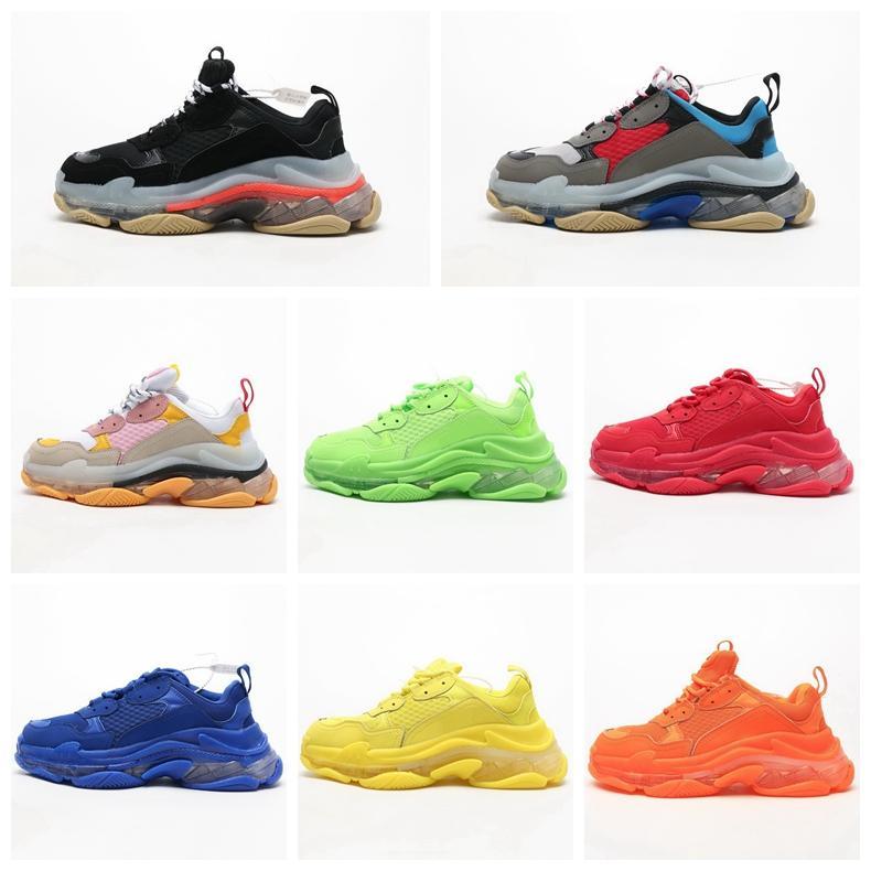 2019 casas New 17 Fw Paris triplo S Sneakers Chaussures Homens Mulheres Plataforma de fitness Casual Air Cushion sapatos do pai com sola de cristal