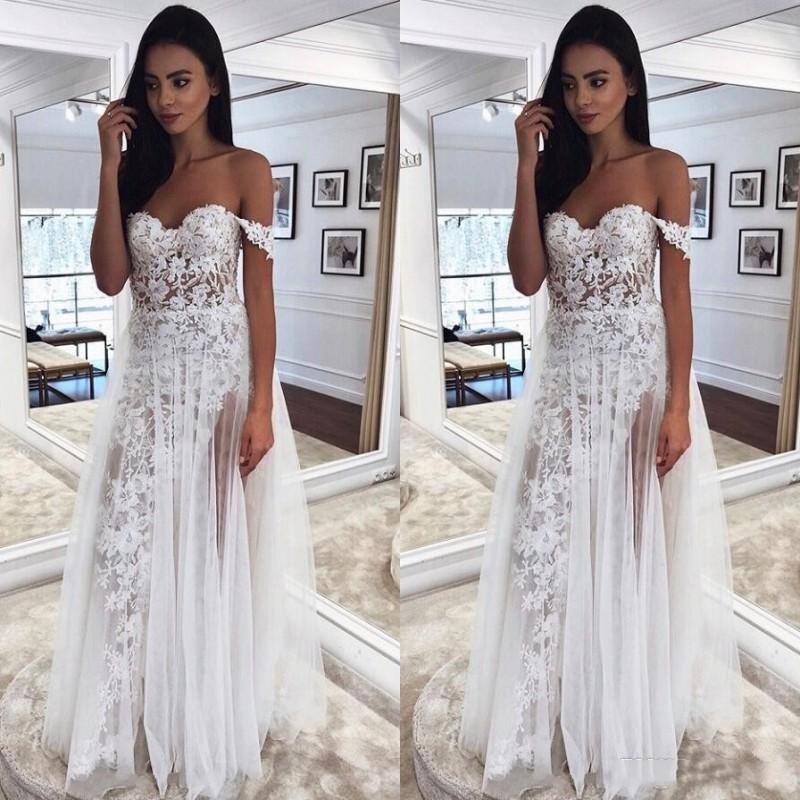 Bohemian laço do casamento Vestidos A Linha Illusion Summer Beach vestidos de noiva fora do ombro completa Lace Elie Saab Longo Formal Wear