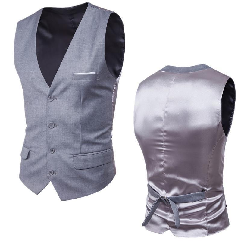 Fashion Single Buttons Vests Men's Business Casual Slim Vests Light Grey 9 Solid Color Fit Male Suit For Men Spring Autumn S-6XL