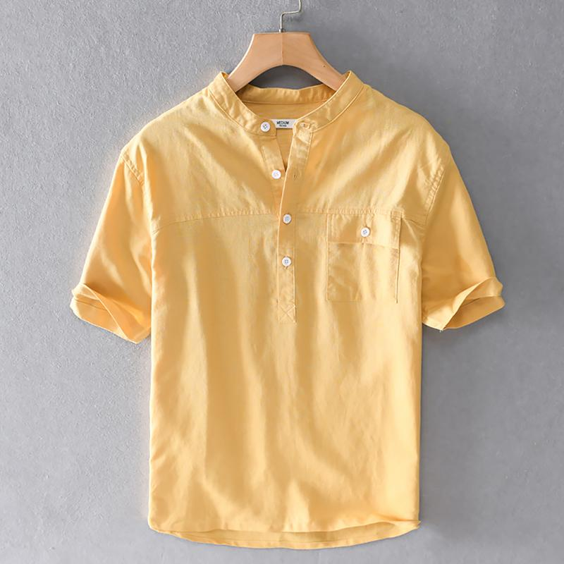 2020 New Design Summer Brand Linen Shirt Men Short Sleeve Stand Collar Yellow Shirts For Men Casual Breathable Shirt Mens Overhemd From Fitzgerald10 25 69 Dhgate Com