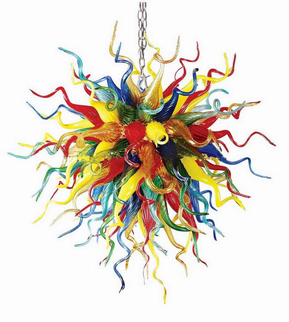 Hotel Decoration Handmade Blown Colored Glass Chandelier Light Chihuly Style Art Designed Murano Glass Pendant Lamps for Sale
