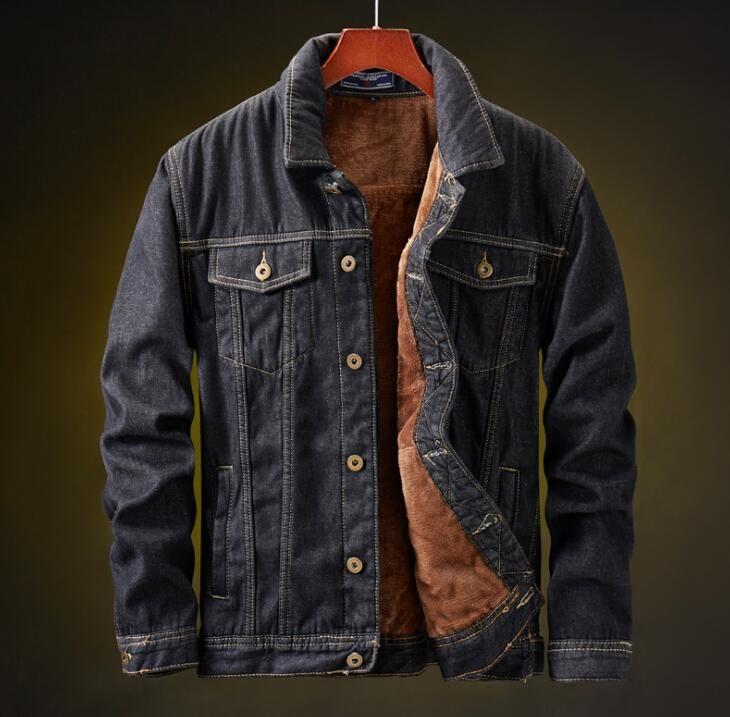 19Mens chaqueta del invierno y del escudo cálida lana de chaqueta de mezclilla de moda para hombre de las chaquetas Outwear Jean masculino del vaquero tamaño asiático M-5XL
