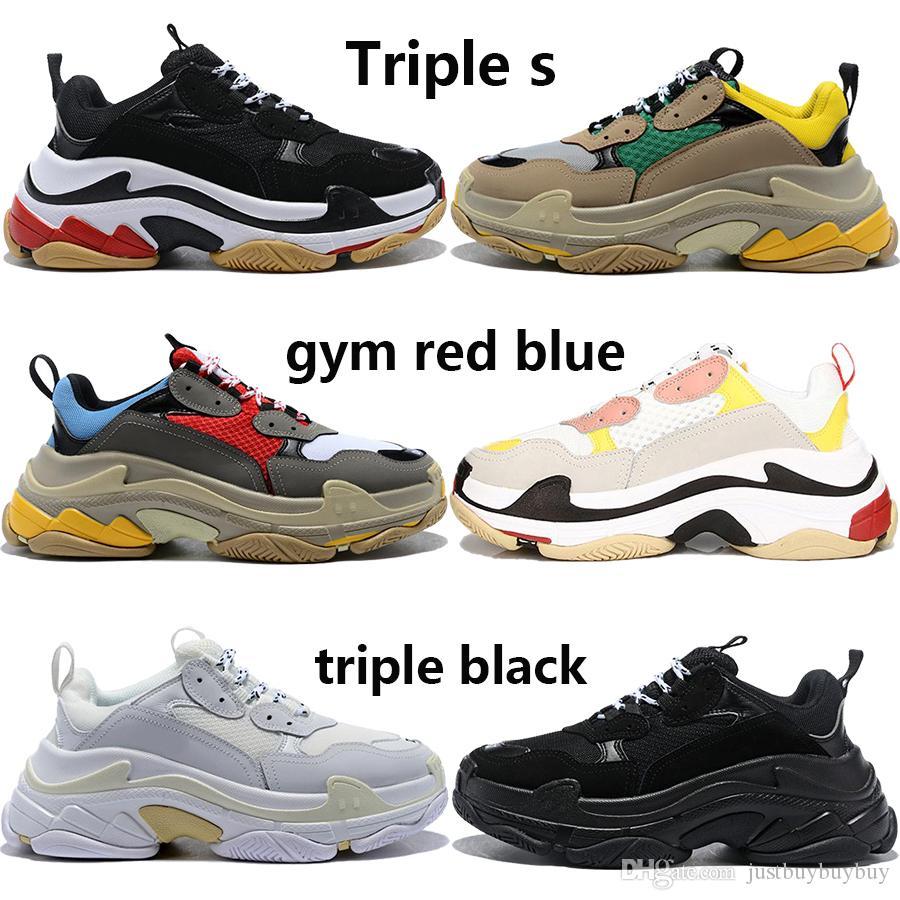 2020 pairs triple s triple black white men women casual dad shoes beige green yellow grey pink mens stylist sneakers US 5.5-11