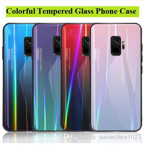 Laser Tempered glass Case For Samsung galaxy S8 S9 Plus S10 Lite Aurora Gradient Colorful Shockproof Cover For Samsung Note 8 9