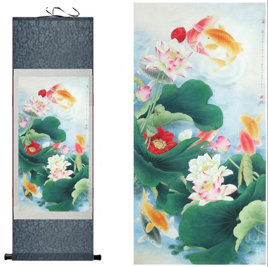 Traditional Silk Art Painting Fish Playing In The Water Chinese Art Painting Home Office Decoration Chinese Painting