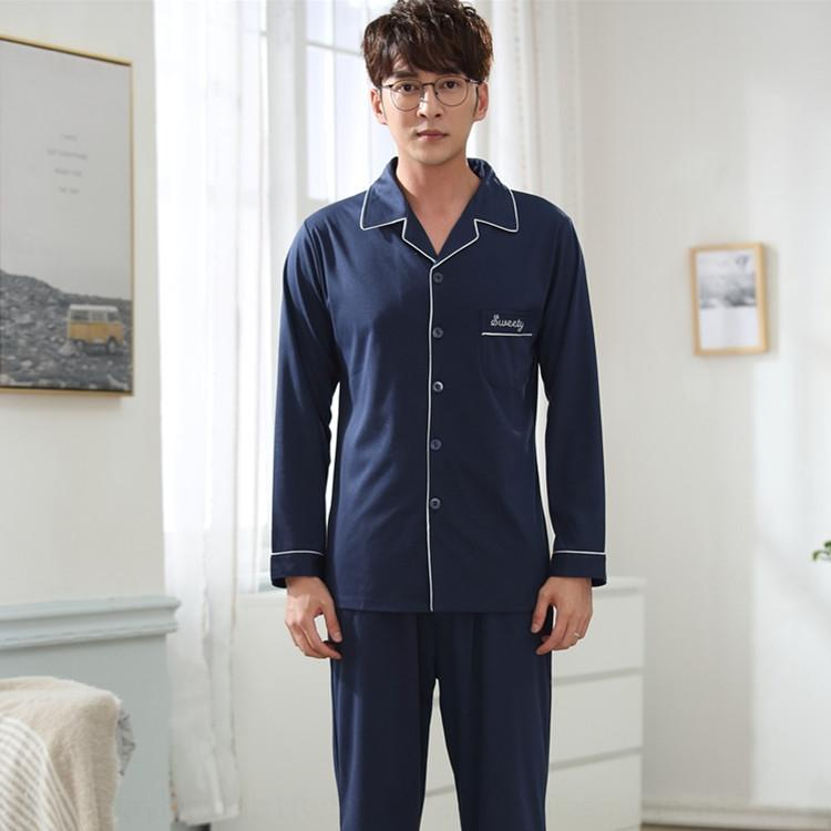 Cardigan lapel suit knitted cotton simple men's pajamas loose clothes combed outdoor clothing outdoor clothing cotton