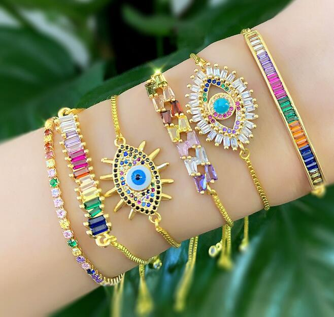 Bangle Diamond Jewelry Luxury Bracelets Crystal Smoked Pull Gold-plated Charms Student Charm Bracelet Women Colorful Jewelry Bracelets Lxtm