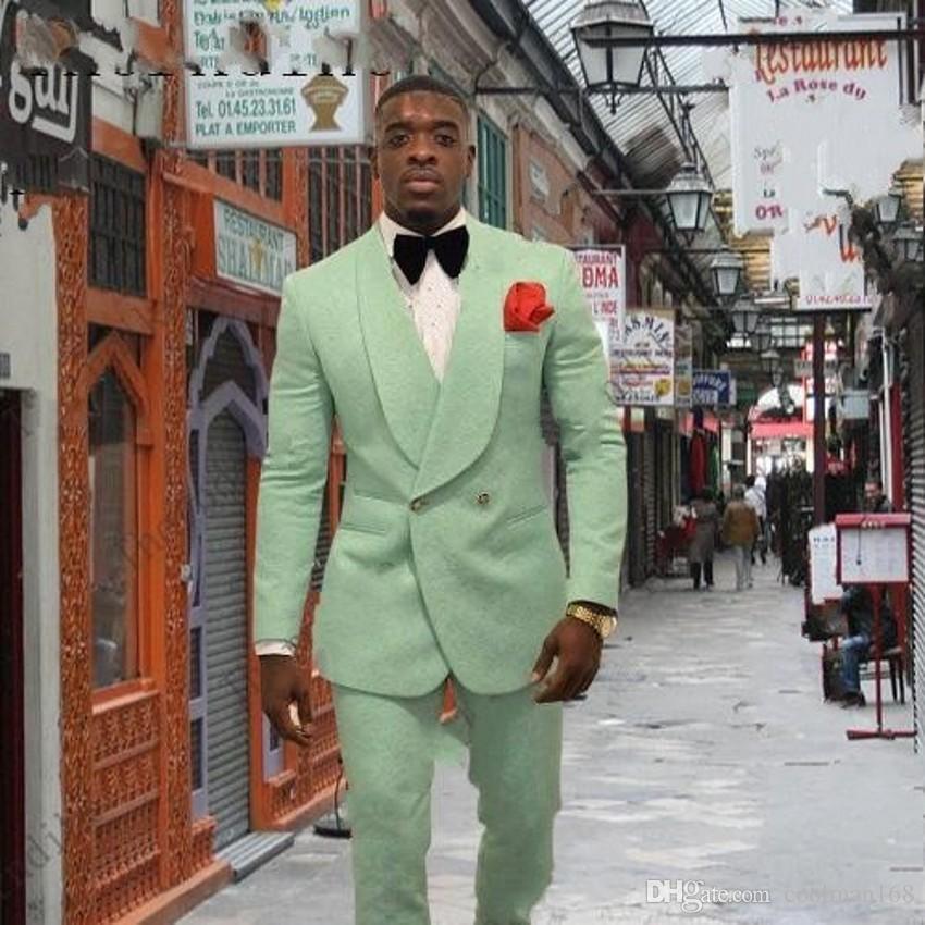 Verde Embossing Mens Casamento Smoking Xaile Lapela Do Noivo Padrinhos Smoking Ternos Homem Popular Jaqueta Excelente 2 Peça Suit (Jacket + Pants + Tie) 6