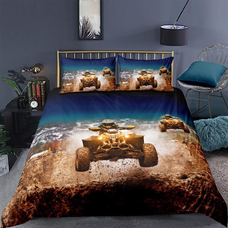 레이서 침구 세트 킹사이즈 말 멋진 유행 3D 깃털 이불 덮개 여왕 쌍 전체 단일 두 번 독특한 디자인이 침대 세트