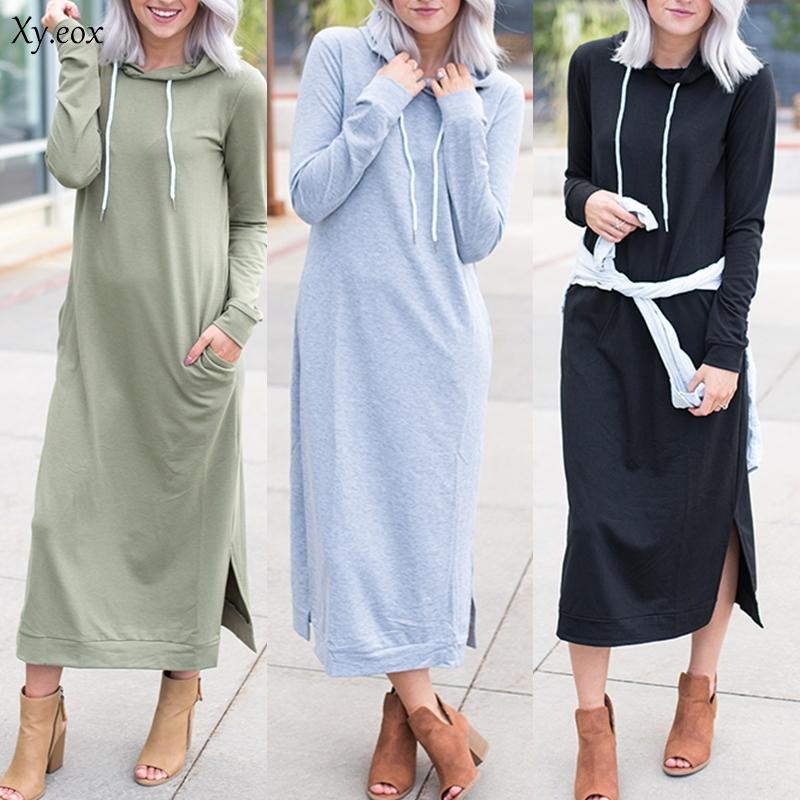 Mulheres manga comprida com capuz camisola vestido de senhoras soltas soltas vestido de festa casual