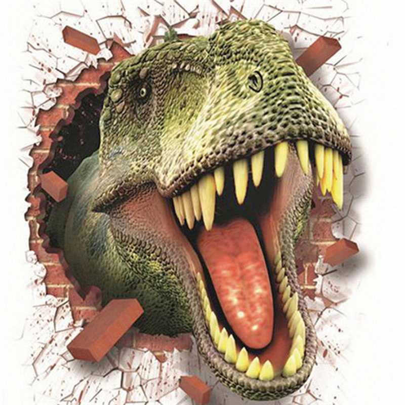 3D Dinosaur Break Wall Sticker PVC Wall Decals Home Decoration For Kids Rooms Living Room Background Wallpaper Stickers 50X70cm