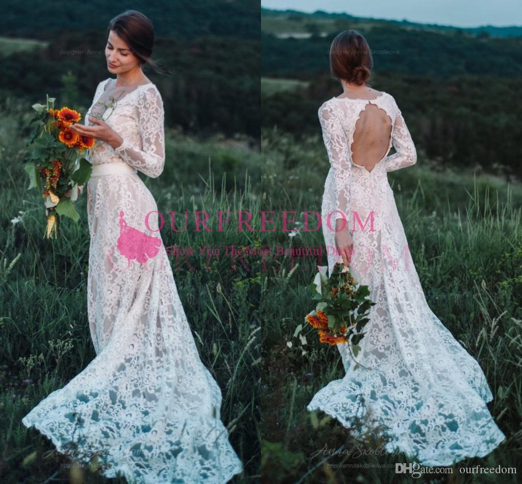 2020 Boho Sheer Jewel Neck manga comprida vestidos de casamento Lace Full Backless Sweep Train país rústico estilo vestido de noiva Custom Made